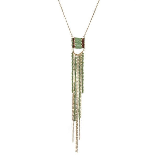 """Gold tone necklace with a green beaded tassel pendant. Approximately 30"""" in length."""