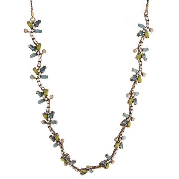 """Burnished gold tone necklace with clear, blue and yellow rhinestones. Adjustable from 12"""" to 32"""" in length."""