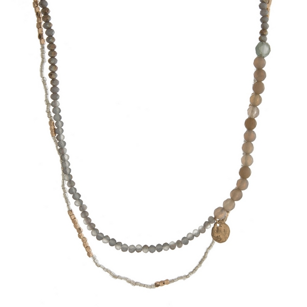 """Gray beaded, two layer necklace with gold tone accents. Approximately 30"""" in length."""