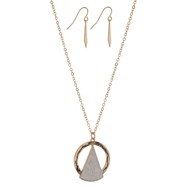 Wholesale gold necklace set silver glitter triangle pendant matching fishhook ea