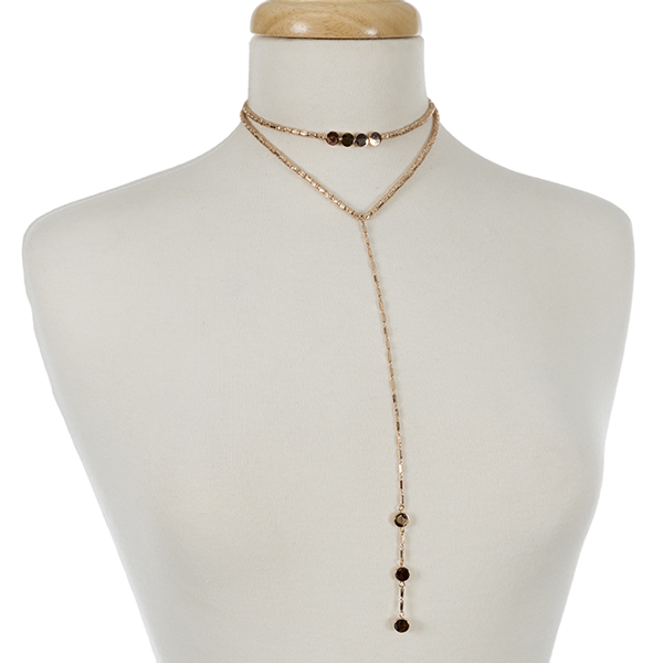 "Rose gold tone layered choker and 'Y' necklace. Approximately 12"" and 14"" in length."