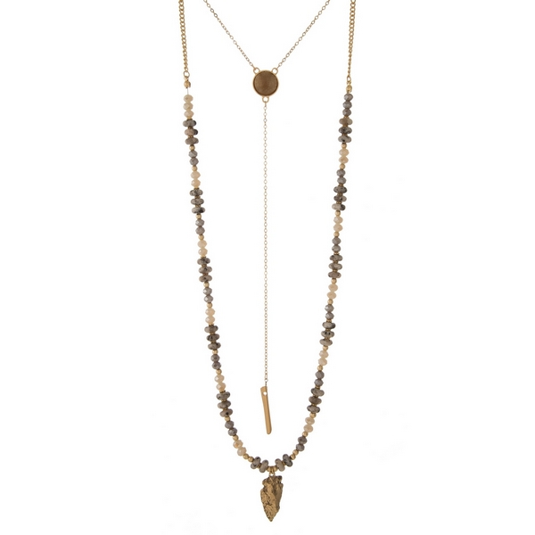 """Gold tone two layer necklace with gray beads and a faux druzy stone. Approximately 20"""" and 36"""" in length."""