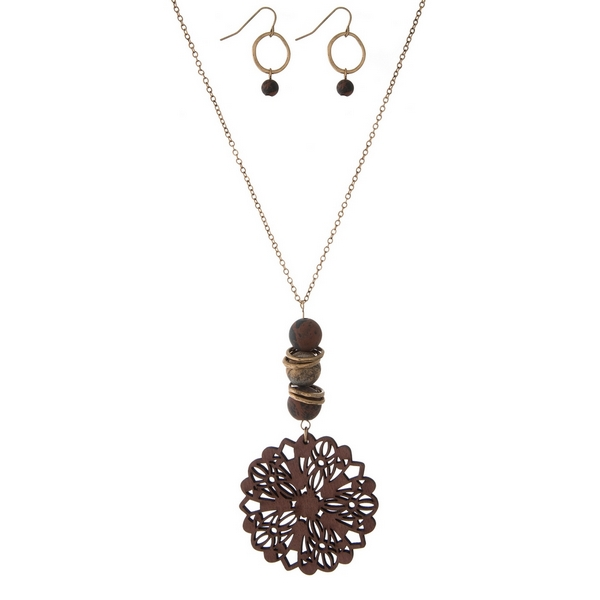Wholesale gold necklace set wooden burgundy laser cut pendant natural stone acce