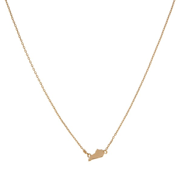 "Dainty gold tone necklace with a state of Kentucky pendant. Approximately 16"" in length."