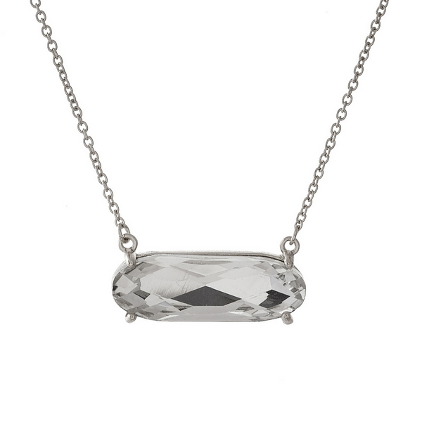 """Dainty silver tone necklace with a clear rhinestone pendant. Approximately 16"""" in length."""