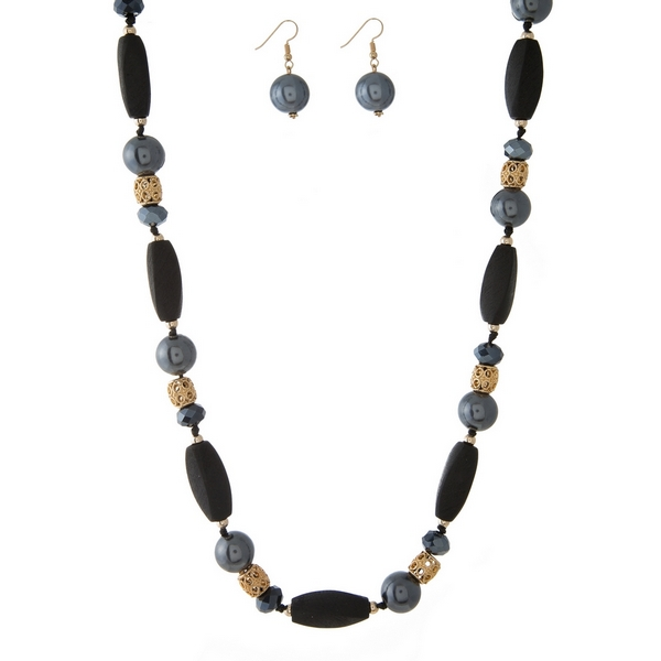 """Black wooden beaded necklace with gray pearl beads and matching fishhook earrings. Approximately 40"""" in length."""