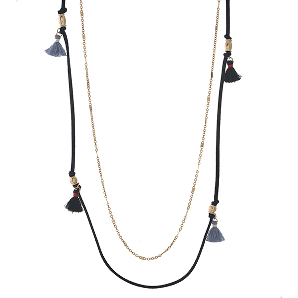 """Gold tone and black faux suede two layer necklace with gray and black thread tassels. Approximately 30"""" in length."""