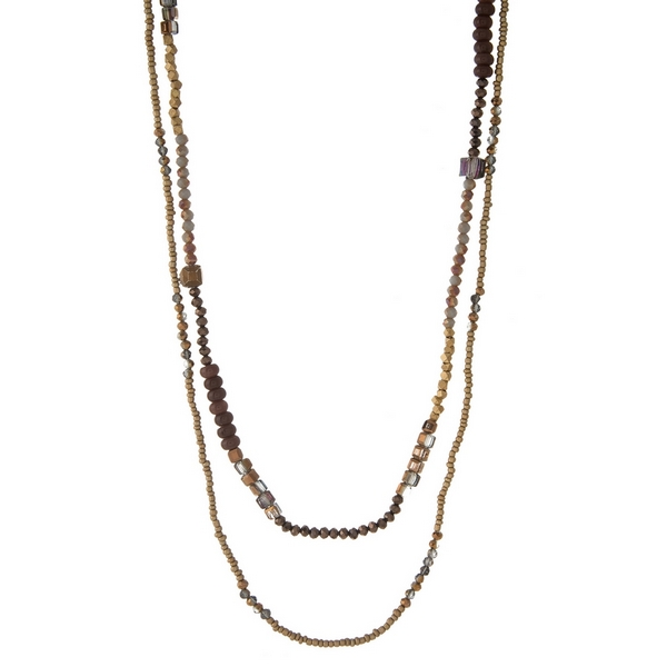 """Bronze and gray beaded two layer necklace. Approximately 28"""" and 30"""" in length."""
