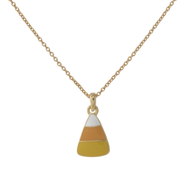 "Dainty gold tone necklace with a candy corn pendant. Approximately 16"" in length."