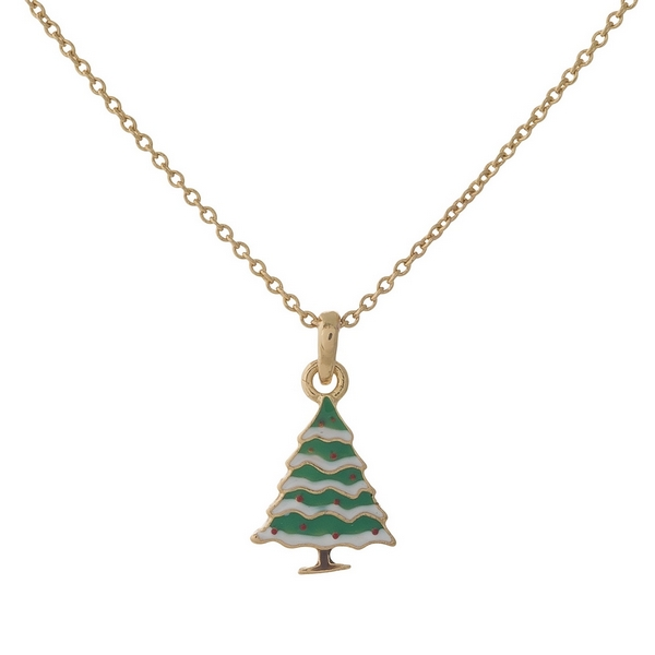 "Dainty gold tone necklace with a Christmas tree pendant. Approximately 16"" in length."