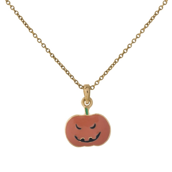 "Dainty gold tone necklace with a Jack-O-Lantern pendant. Approximately 16"" in length."
