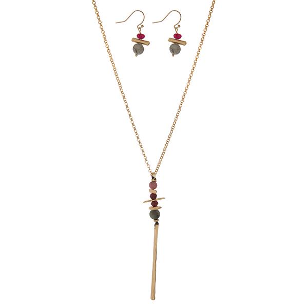 Wholesale gold necklace set green burgundy beaded pendant matching fishhook earr