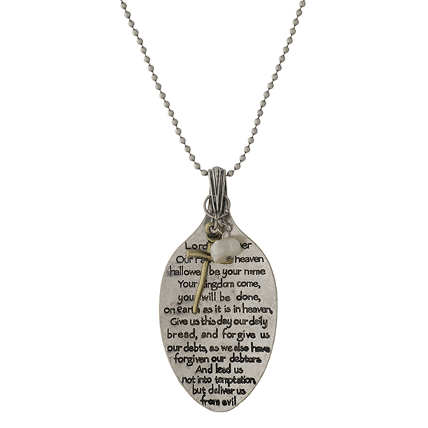 """Silver tone necklace with a spoon pendant, stamped with The Lord's Prayer.  Approximately 28"""" in length."""