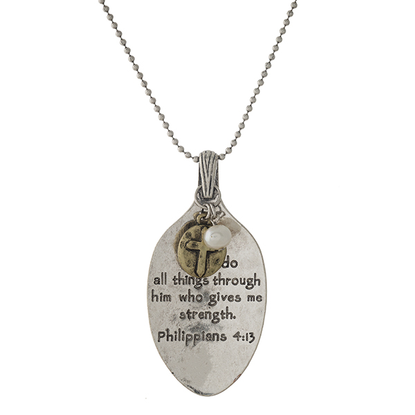 """Silver tone necklace with a spoon pendant, stamped with Philippians 4:13.  Approximately 28"""" in length."""