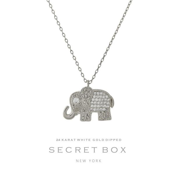 Secret box 24 karat white gold over brass elephant pendant necklace wholesale secret box karat white gold brass elephant pendant necklace sold gift aloadofball Choice Image