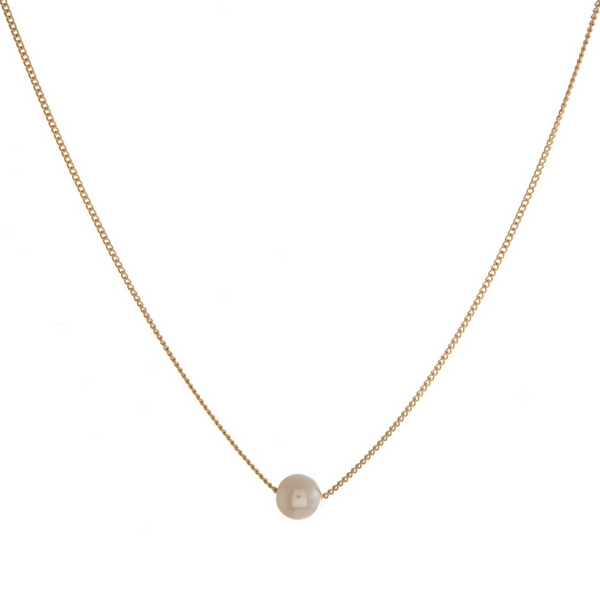 """Dainty necklace with a pearl bead pendant. Approximately 16"""" in length."""