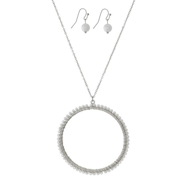 Wholesale long metal necklace set pearl beaded circle pendant matching fishhook