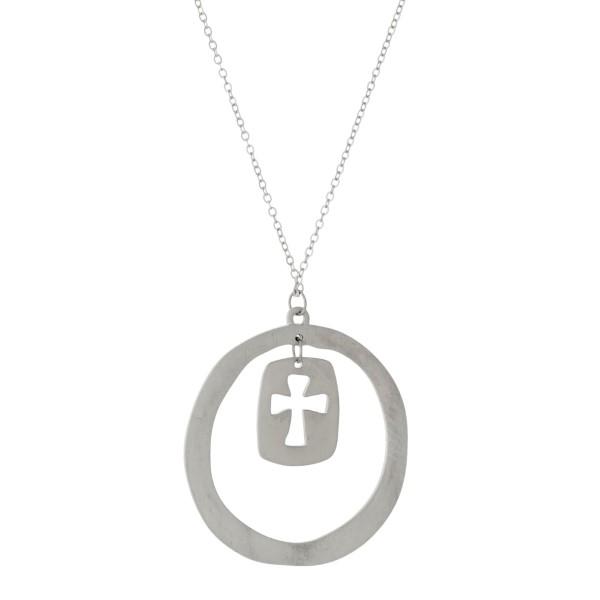 Wholesale metal necklace circle pendant cut out cross satin finish