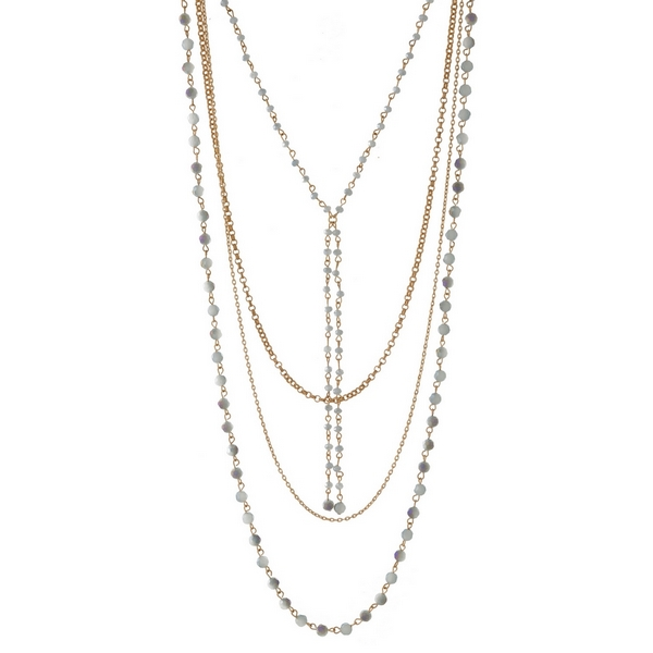 Wholesale gold multi strand necklace faceted beads