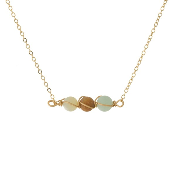 Wholesale dainty gold necklace wire wrapped natural stone beads Natural stone co