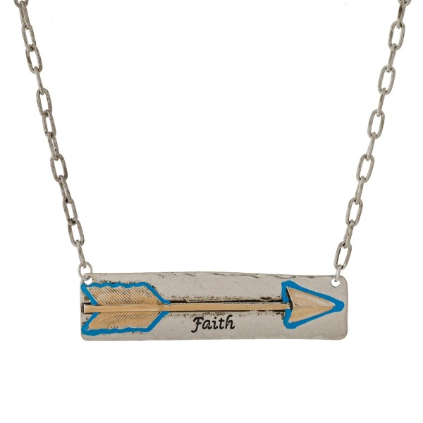 """Burnished metal necklace with a bar pendant, stamped with an arrow and """"Faith."""" Approximately 16"""" in length."""