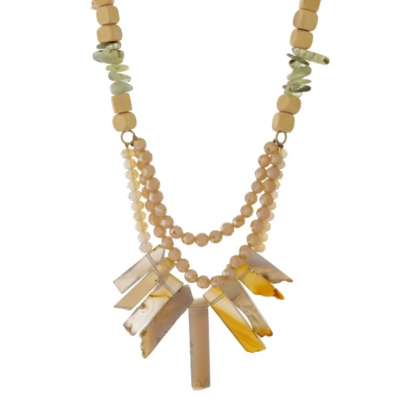 """Wooden beaded statement necklace with gray beads and gray natural stones. Approximately 16"""" in length."""