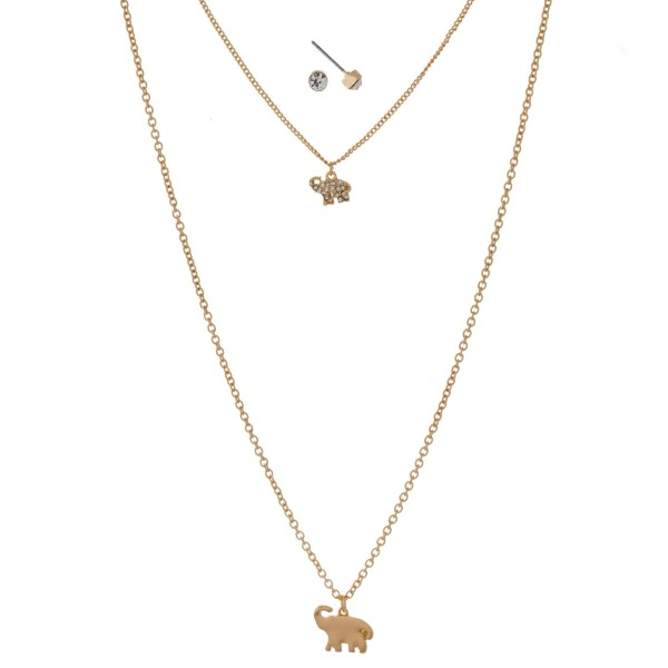 """Dainty, metal two layer necklace set with elephant pendants and matching rhinestone stud earrings. Approximately 16"""" and 24"""" in length."""