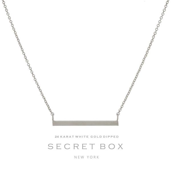 "Secret Box 24 karat white gold over brass, bar pendant necklace. Approximately 16"" length."