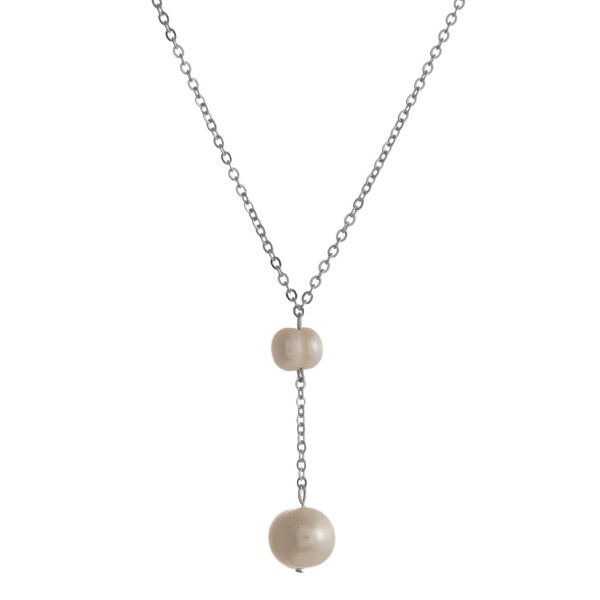 "Dainty, Y necklace with pearl details. Approximately 16"" in length."