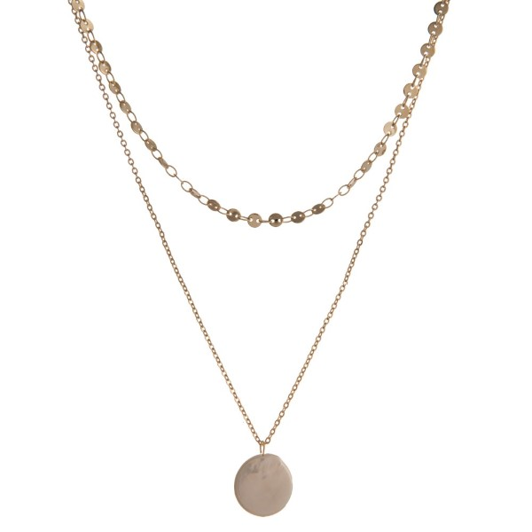 "Dainty, layered necklace with flat metal beads and pearl charm. Approximately 14-16"" in length"