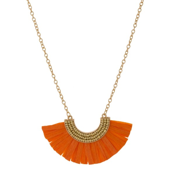 Wholesale gold necklace beaded rafia accent