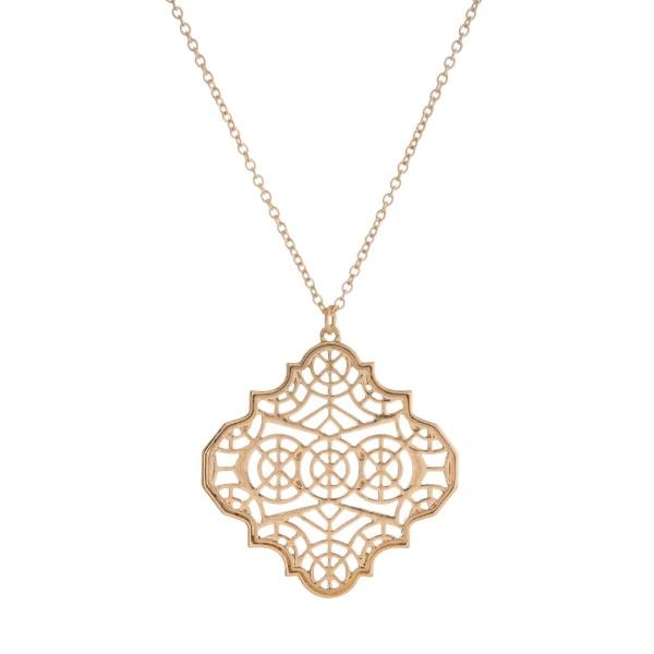 Long metal necklace with a filigree quatrefoil pendant wholesale long metal necklace filigree quatrefoil pendant aloadofball Choice Image
