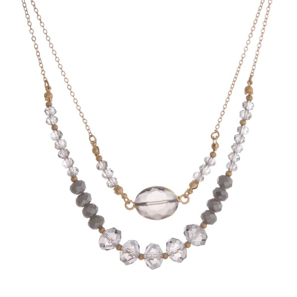 Wholesale gold two layer necklace faceted glass beads