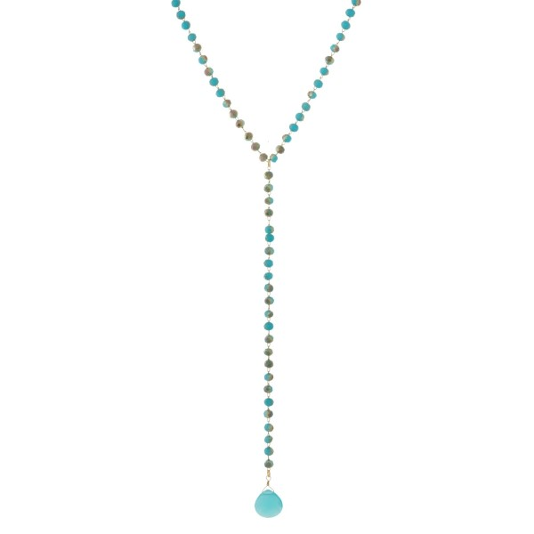 Wholesale long beaded necklace tear drop pendant