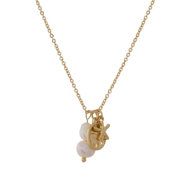 Wholesale metal necklace sea life pearl pendants