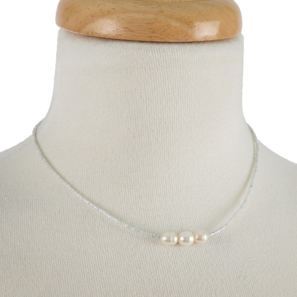 """Full beaded necklace with three freshwater pearl bead focals. Approximately 16"""" in length."""