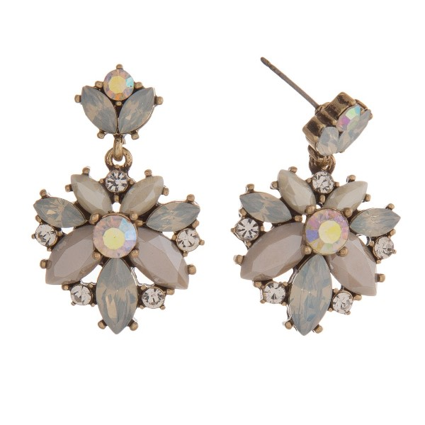 """Statement, post earring with rhinestone cluster. Approximately 1.5"""" in length."""