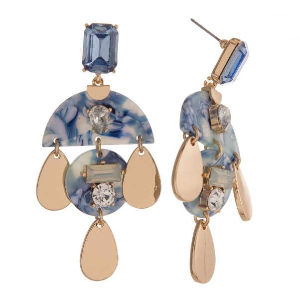 "Statement, post style earring with acetate geometric shape and rhinestone detail. Approximately 3"" in length."