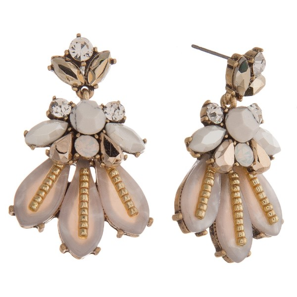 """Statement, post style earring with rhinestone cluster and acetate design. Approximately 2"""" in length."""