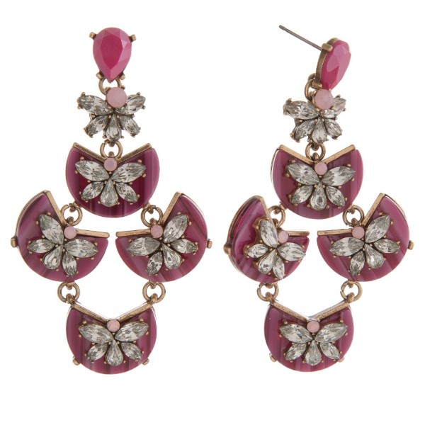 """Statement earring with acetate design and rhinestone details. Approximately 3"""" in length."""