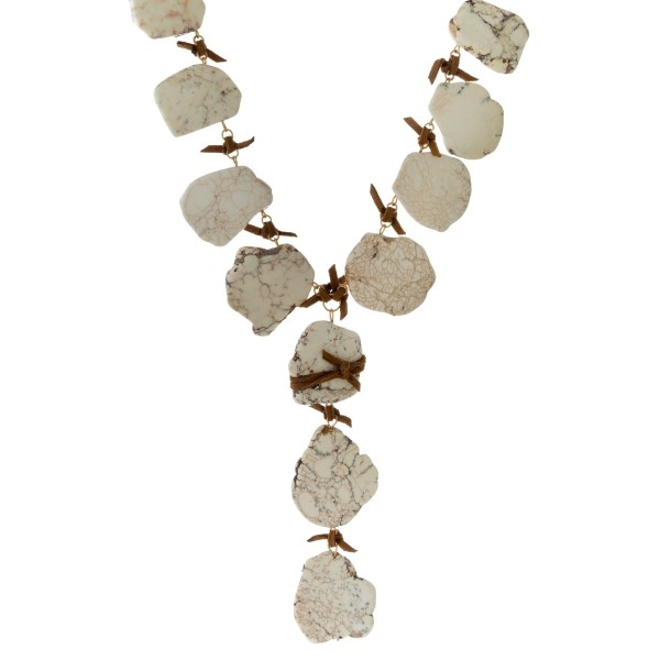 Wholesale faux suede Y necklace natural stone nuggets