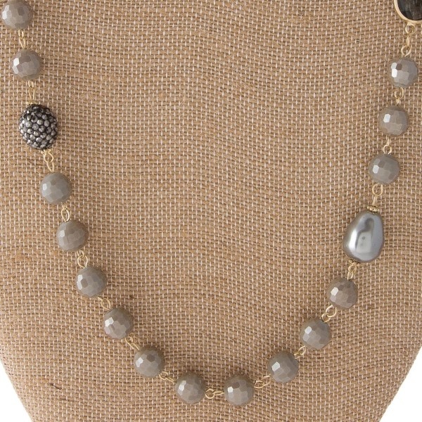 "Long necklace with natural stone and fresh water pearl beads. Approximately 30"" in length."