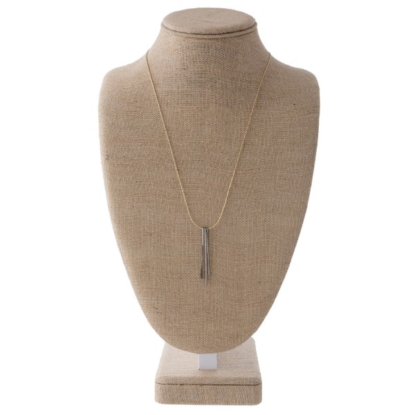"Dainty necklace with three metal bar pendants. Approximately 24"" in length."
