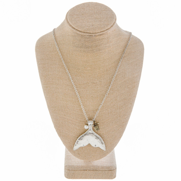 """Long metal necklace with mermaid fin. With message at easy in your own shell on fin. Approximate 30"""" in length."""
