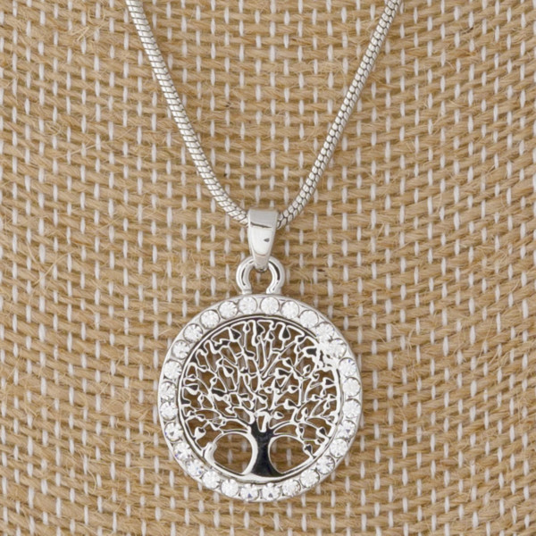 """Short metal necklace with filagree pendant. Approximately 18"""" in length."""