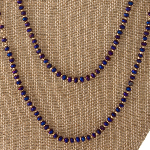 """Long layered necklace with small iridescent beads. Approximately 36"""" in length."""
