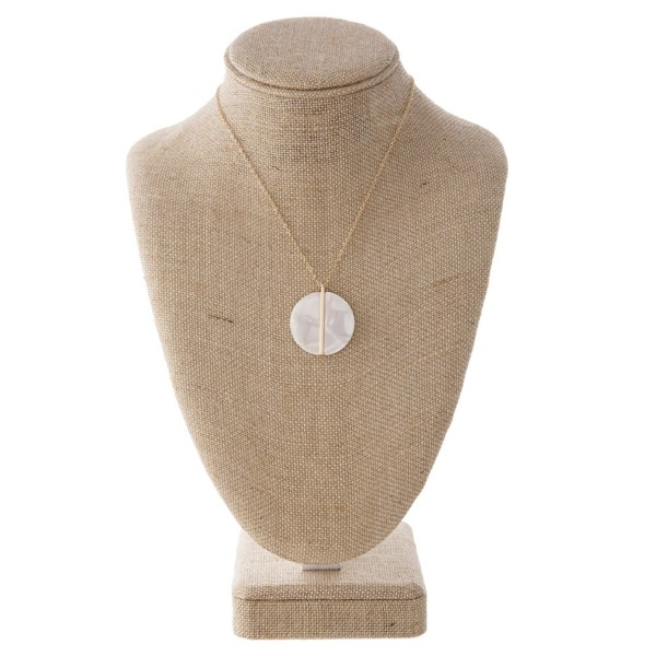 """Short gold tone necklace with acetate pendant. Approximately 18"""" in length with a 1.25"""" pendant."""