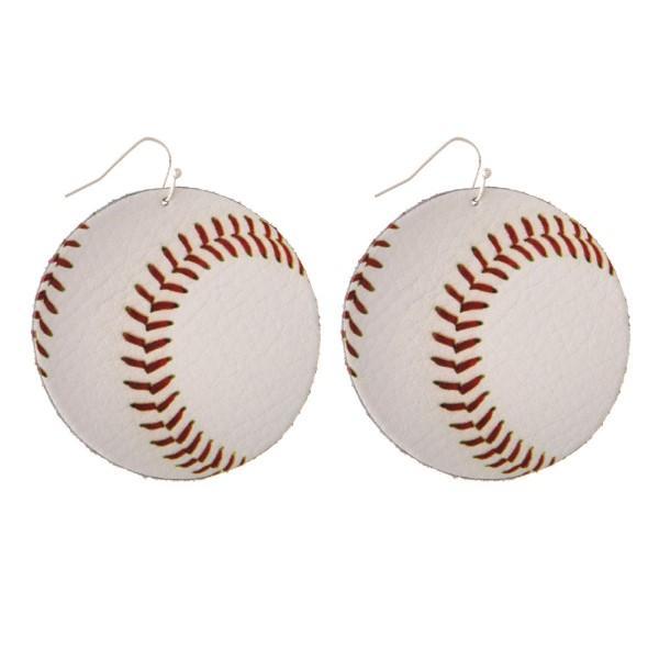 "Faux suede earring in a baseball shape. Approximately 2"" in diameter"