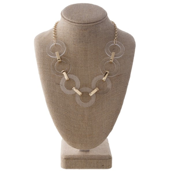 """Gold tone statement necklace with acetate detail. Approximately 20"""" in length."""