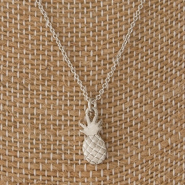 "Dainty necklace with pineapple charm. Approximately 16"" in length."